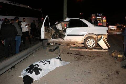 تصاویر ، برخورد وحشتناک خودرو با درخت و جان باختن جوان 22 ساله